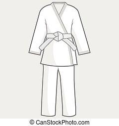 rajzóra, kimonó, ábra, harcias, suit., vektor