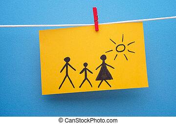 rajz, dolgozat, sárga, család, darab
