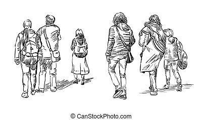 rajz, emberek, vektor, kéz