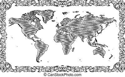 rajz, fametszet, világ térkép, mód, bevésett, öreg