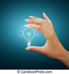 rajz, gumó, fény, gondolat, kéz