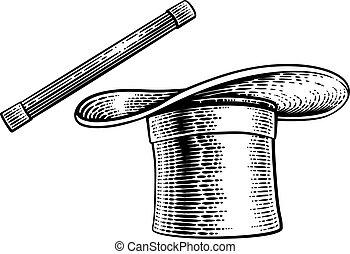rajz, kalap, pálca, tető, fametszet, varázslatos, varázsló