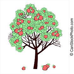 rajz, vektor, fa, alma, gyümölcs