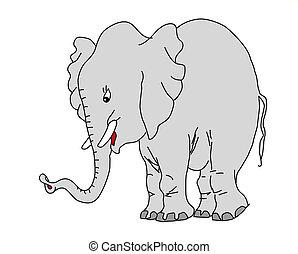 rajz, white háttér, elefánt