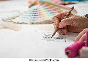 rajzoló, szab, mód, vagy