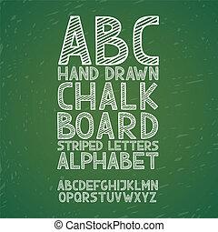 rajzol, grunge, ábécé, abc, ábra, kéz, kréta, vektor, rögtönzött, chalkboard, tábla, betűtípus, gépel, szórakozottan firkálgat