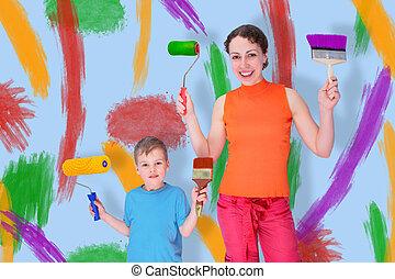 rajzol, kollázs, söpör, fal, fiú, anya, forgócsapok
