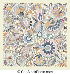 rajzol, virág, kéz, vízfestmény, vektor, tervezés, etnikai