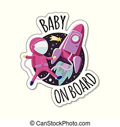 rakéta, autó, böllér, space., aláír, űrhajós, bizottság, gyermek, csecsemő, warning.