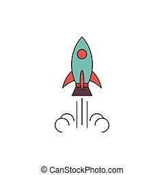 rakéta, fogalom, elszigetelt, vektor, háttér, fehér, ikon