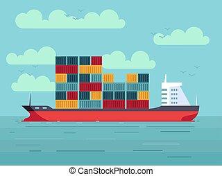 rakomány, ábra, óceán, vektor, tenger, hajó, vagy, tároló