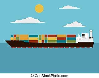 rakomány, ábra, vektor, hajó, karikatúra, tároló