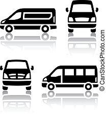 rakomány, állhatatos, furgon, ikonok, -, szállít