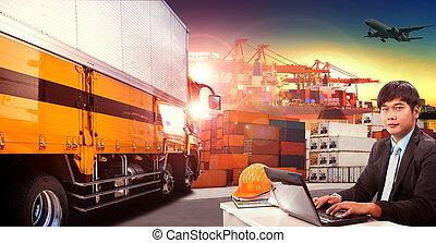 rakomány, alkalmaz, konténer, munkaszervezési, dolgozó, repülés, hajózás, indutry, dokk, repülőgép, csereüzlet, felül, szállítás, rakomány, rév, ember