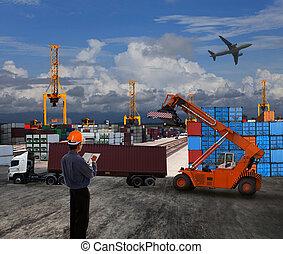 rakomány, alkalmaz, vidék, konténer, dolgozó, színhely, dokk, téma, kereskedés, tiszt, munkaszervezési, import, világ, export, szállít, ember