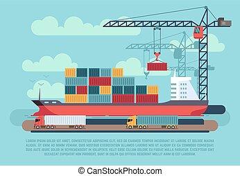 rakomány, berakodás, kikötő, hajózás, vektor, ábra, tenger, hajó, tároló, daru, rév, szállít