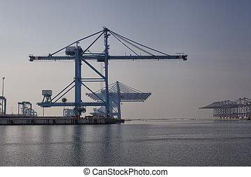 rakomány, berakodás, offloading, hajó, kikötő, reggel, végső, lakatlan, rév
