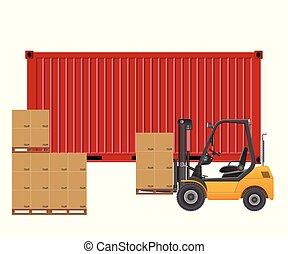 rakomány, container., targonca, elszigetelt, ábra, háttér., vektor, berakodás, fehér