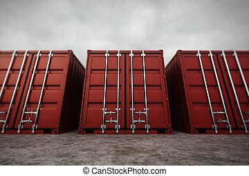 rakomány, containers.