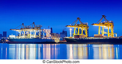 rakomány, ipari, konténer, dolgozó, crane., rakomány hajó