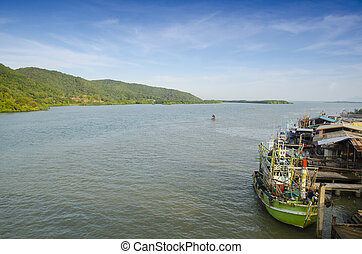 rakomány, ipari, konténer, rakomány, panoráma, tenger, hajó