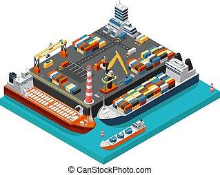 rakomány, isometric, fogalom, antenna, kinyúl, iparág, hajózás, tengeri kikötő, végső, hajó, vektor, kikötő, nézet., tároló, 3