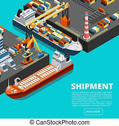 rakomány, isometric, fogalom, kinyúl, iparág, hajózás, tengeri kikötő, végső, hajó, vektor, containers., 3