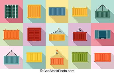 rakomány, lakás, mód, állhatatos, konténer, ikonok