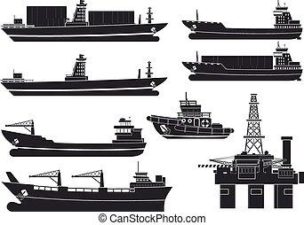 rakomány, olaj platform, hajó, révkalauzhajó