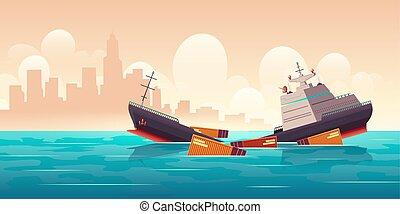 rakomány, süllyedő, edény, hajótörés, hajó, óceán