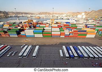rakomány, szállítás, busz, hajózás, felül, rév, tároló, kilátás