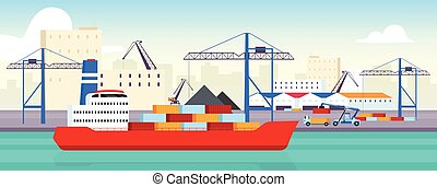 rakomány szállítás, lakás, logisztika, rév, 2, tárolás, vektor, raktárépület, háttér., ipari, karikatúra, szín, táj, tengeri, konténer, hajógyár, hub., tenger, kereskedelmi, udvar, raktár, illustration.