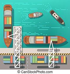 rakomány, tető, hajó, ábra, tengeri kikötő, dokk, vektor, tenger, úszó, boats., vagy, kilátás