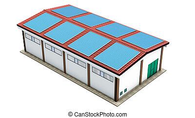 raktárépület, fanyergek, ipari, nap-