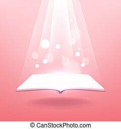 rays., fény, fényes, nyitott könyv, varázslatos, szikrázó