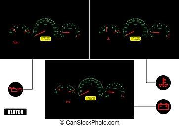 realistic., vector., autó, üzemzavar, indicators.