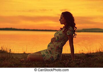 realxed, látszó, nő, napnyugta