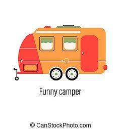 recreation., camper., otthon, külső, színes, háttér, szórakozás, autó., out-of-town, elszigetelt, vektor, pihenés, ábra, mozgatható