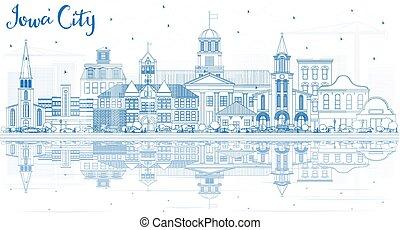 reflections., épületek, láthatár, város, áttekintés, iowa, kék