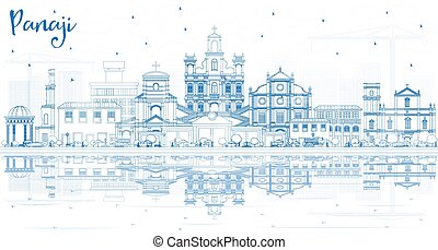 reflections., india, panaji, épületek, láthatár, város, áttekintés, kék