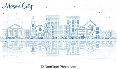 reflections., kőműves, épület város, láthatár, áttekintés, iowa, kék