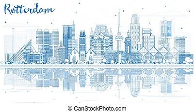 reflections., rotterdam, épület város, láthatár, áttekintés, kék