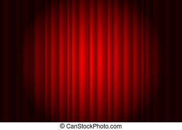 reflektorfény, függöny, színház