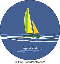 regatta, ikon, tervezés, club.