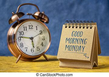 reggel, jó, hétfő, jegyzet