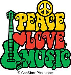 reggi, béke, szeret, zene