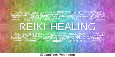 reiki, szivárvány, transzparens, társult, gyógyulás, szavak