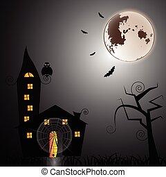 rejtély, épület, halloween éjszaka