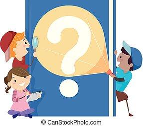 rejtély, gyerekek, stickman, könyv, ábra
