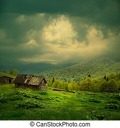 rejtély, hegy, elhomályosul, parkosít., fény, sötét, fénysugár